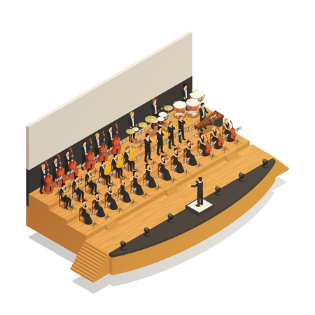Big orchestra playing classical music on stage with conductor isometric composition vector illustration