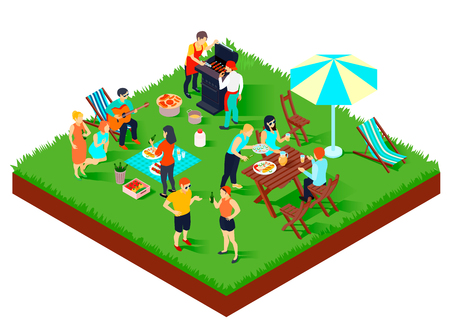 Bbq picnic with friends, songs under guitar, food and drink, umbrella, table and loungers isometric vector illustration