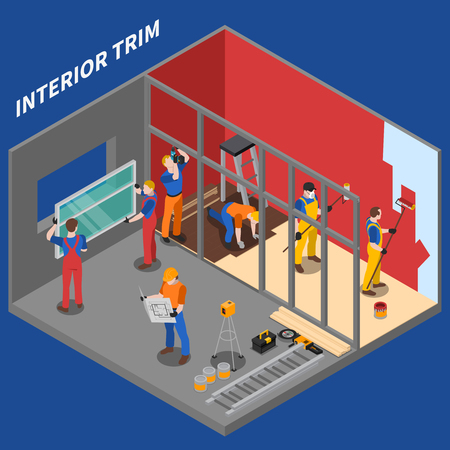 Isometric home repair worker people composition interior trim by group of workers vector illustration Illustration