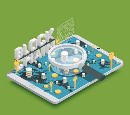 新鮮な緑の背景のベクトル図 cryptocurrency blockchain シンボルと現代の安全な仮想支払い方法等尺性組成