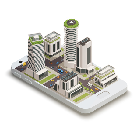 Smart city center tower buildings with sustainable green energy roof gardens on smartphone screen isometric composition vector illustration