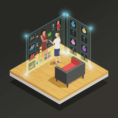 Woman choosing dress and makeup in augmented reality glasses isometric composition on black background 3d vector illustration