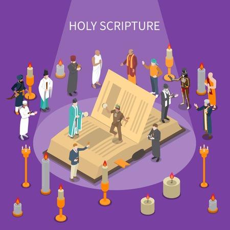 Heilige scripture isometrische samenstelling met open boek, mensen van wereldgodsdiensten, kaarsen op violette vectorillustratie als achtergrond
