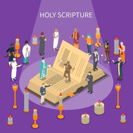 Holy scripture isometric composition with open book, people from world religions, candles on violet background vector illustration
