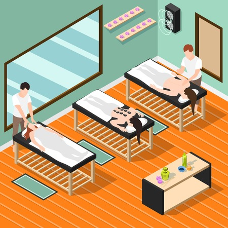 Alternative medicine isometric background  with female patients lying on couches and male massage therapists performing medical procedures vector illustration
