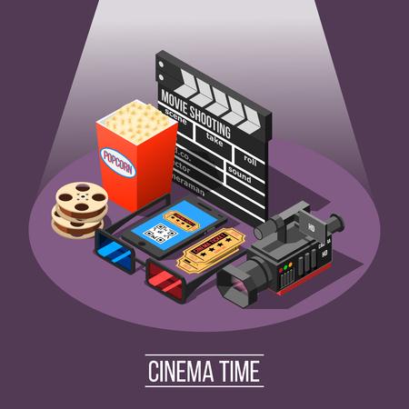 La composizione isometrica della fucilazione di film con gli apparecchi ed i film essenziali di filmmaking che assistono i biglietti degli accessori e lo smartphone vector l'illustrazione Archivio Fotografico - 88463061