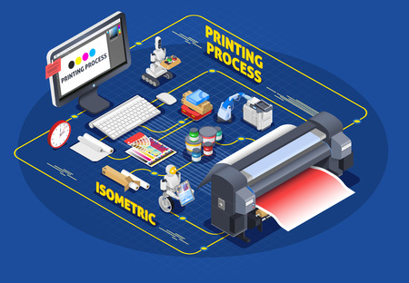 Printing house polygraphy industry isometric composition with conceptual images of robots and consumables with paper and cartridges vector illustration Illustration
