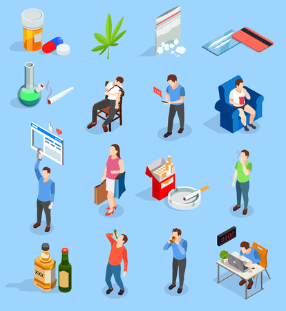 Bad habits of people isometric icons with drugs, alcohol, smoking,  workaholism, social media, shopping isolated vector illustration
