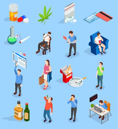 Mauvaises habitudes des icônes isométriques de personnes avec des drogues, alcool, fumer, workaholism, médias sociaux, shopping illustration vectorielle isolé Vecteurs