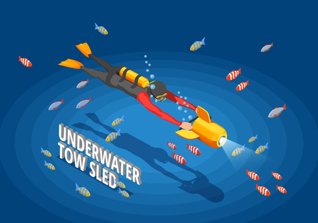 Scuba diving snorkelling isometric composition with human character in wet suit with spotlight and cumbersome text vector illustration Illustration