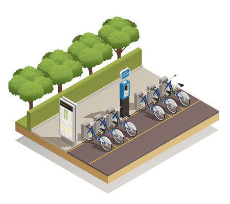 Urban eco transport isometric design concept with some available bicycles for rent at station and cashier machine for payment vector illustration