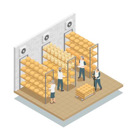 Kaas het verouderen in gecontroleerde voorwaardenopslagplanken in zuivelfabriek met werkende isometrische de samenstellings vectorillustratie van het personeel