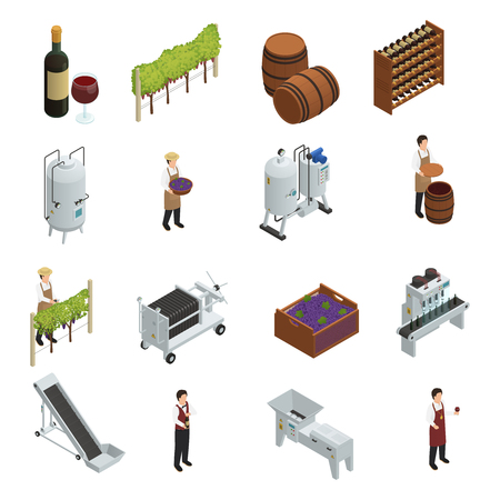 wineglass: Wine production isometric set of grapevine wooden barrels vineyard transporter sommelier rack of vine bottles vector illustration
