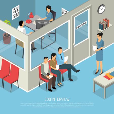 就職の面接等尺性のオフィスのインテリアを構成、登場人物の仕事を待っているキュー話ベクトル図