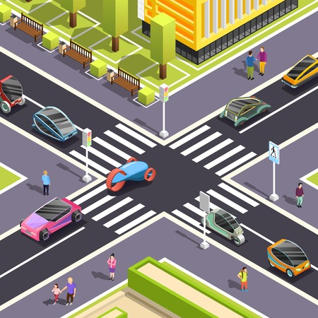 Fragment of city top view with crossroad streets pedestrian zone and futuristic transport isometric vector illustration