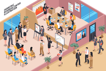 Isometric business illustration with office room interiors male and female human characters of workers and text vector illustration Illustration