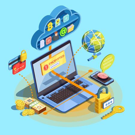 네트워크 노드 클라우드 스토리지 및 랩톱 벡터 일러스트와 함께 cryptocurrency 이미지와 함께 데이터 암호화 사이버 보안 아이소 메트릭 컴포지션