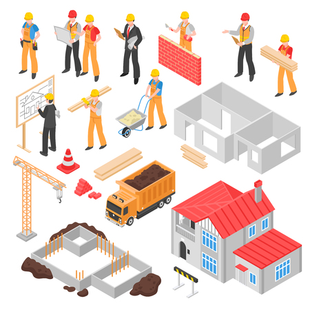 Construction isometric set with builder engineer architect foreman figurines foundation crane truck and finished house isolated vector illustration Illustration