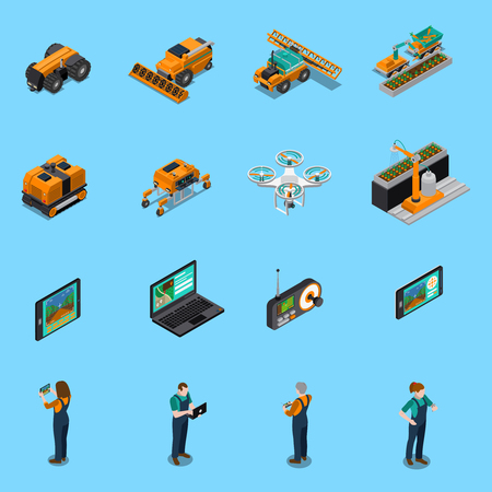 Agricultural robots isometric icons with drone, unmanned machinery for cultivation, farmers with control panel isolated vector illustration