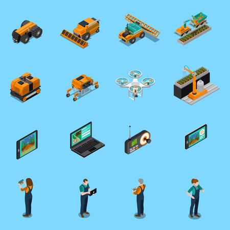 Izometryczne ikony robotów rolniczych z dronem, bezzałogowe maszyny do uprawy, rolnicy z panelem sterowania na białym tle ilustracji wektorowych