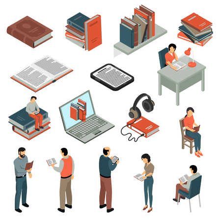 Book reading isometric set with electronic book headphones shelves of paper books  reading people in different poses isolated vector illustration