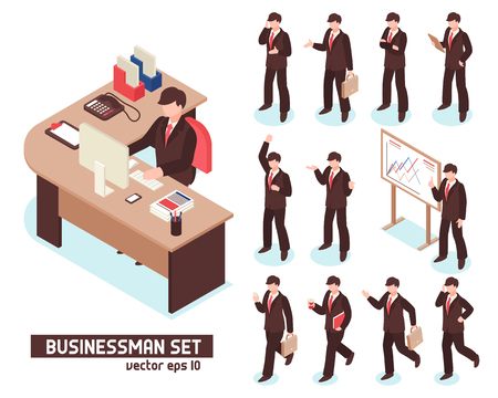 Businessmen isometric set of male characters in suit with items for business isolated on white background vector illustration