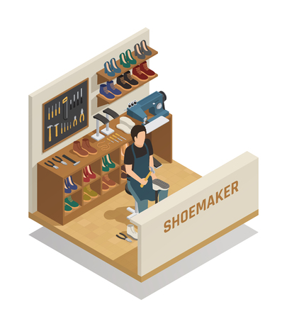 Shoe repairing service isometric composition with shoemaker at working place sewing machine tools and shelves of shoes vector illustration