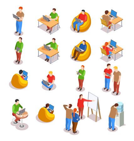 Coworking people isometric icons collection of isolated human figures in open space office with laptop computers vector illustration Illustration