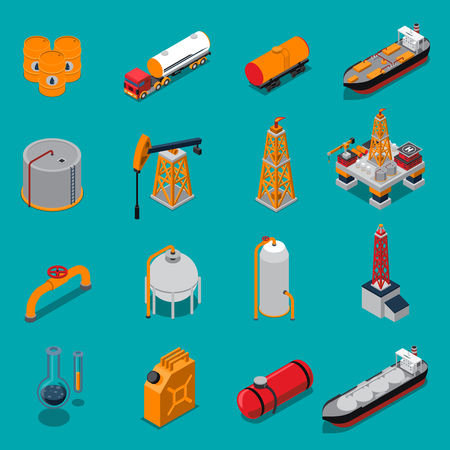 Isometric set with oil production and refinery, gas extraction and pipeline on blue background isolated vector illustration Illustration