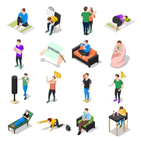 分離人間の文字ベクトル図でさまざまな状況のストレスへの対処のストレスやうつ病の人等尺性のアイコンのコレクション