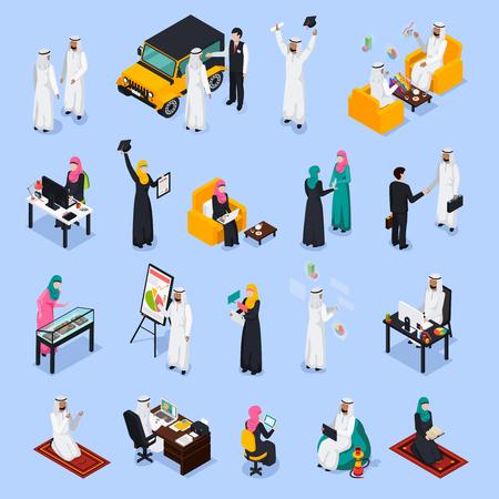 Isometrischer Satz arabische Leute während des Geschäfts, Bildung, Arbeit, Entspannung, Gebet auf blauem Hintergrund lokalisierte Vektorillustration Standard-Bild - 88462956