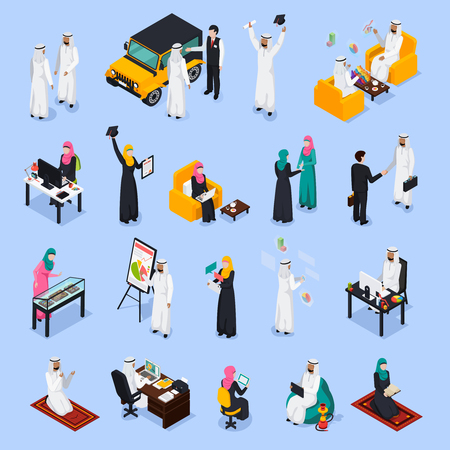 Isometric set of arab people during business, education, work, relaxation, prayer on blue background isolated vector illustration