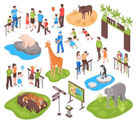 児市動物園等尺性を設定し、それらを撮影や動物を見たり分離両親ベクトル イラスト