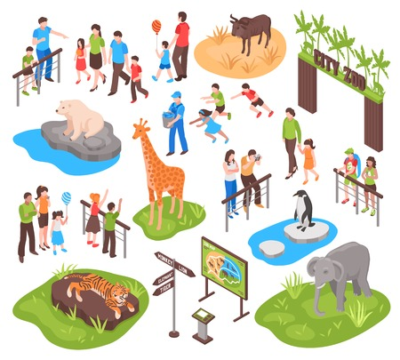 City zoo isometric set with children and their parents watching animals and photographing them isolated vector illustration Illustration