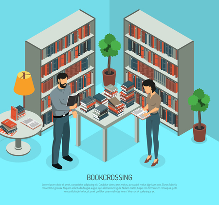 Isometric bookcrossing composition with public library interior and two human characters sharing and reading different books vector illustration