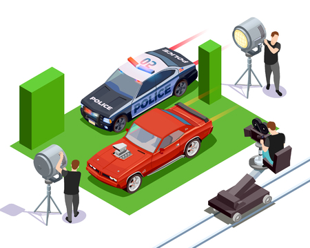 Cinematograph isometric composition with operators shooting red automobile and police car 3d vector illustration Illustration