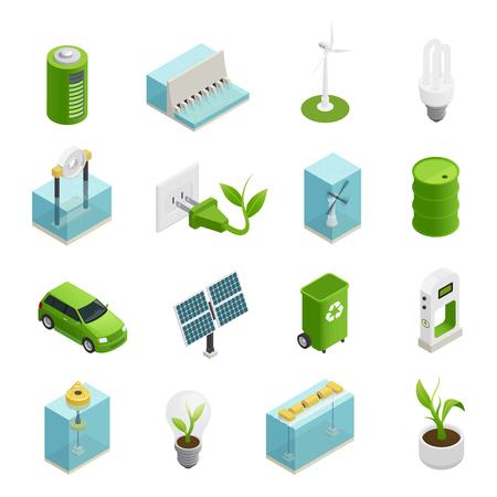 Los símbolos de las tecnologías de fuentes de energía verde renovable y utiliza colección de iconos isométricos de variaties aislaron ilustración vectorial