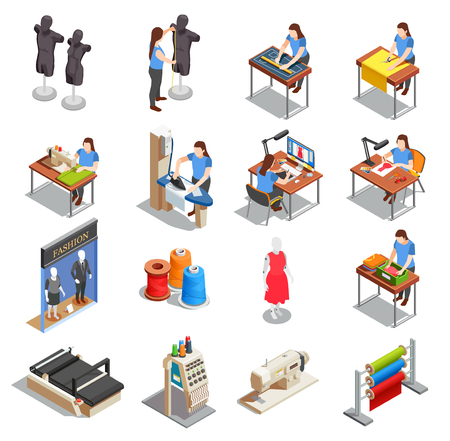Sewing factory set of isometric icons with people during measurement, tailoring, ironing, creation design isolated vector illustration Illustration