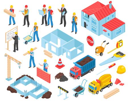 Bouwreeks geïsoleerde van bouwplaatselementen en vervoerseenheden met menselijke karakters van arbeiders vectorillustratie