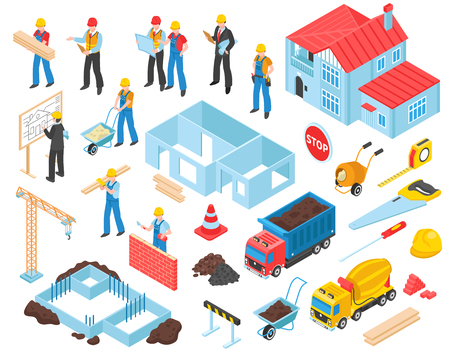 Building set of isolated construction site elements equipment and transport units with human characters of workers vector illustration