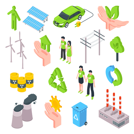 Clean ecology isometric set with trash container wind turbine recycling plant isolated vector illustration