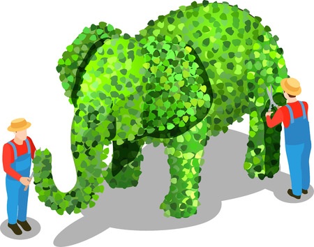 Gardener isometric composition of uniformed human characters tipping elephant shaped bush with shadows on blank background vector illustration