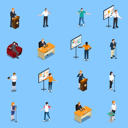 Public speaking isometric icons set with people near microphone during performance on blue background isolated vector illustration