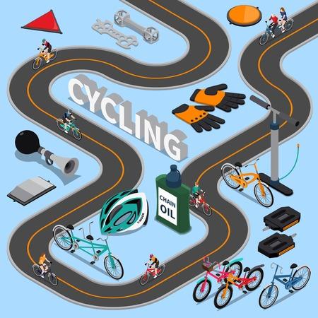 道、スポーツ用品および青い背景ベクトル図のサービス ツールのバイカーと等尺性組成物をサイクリング