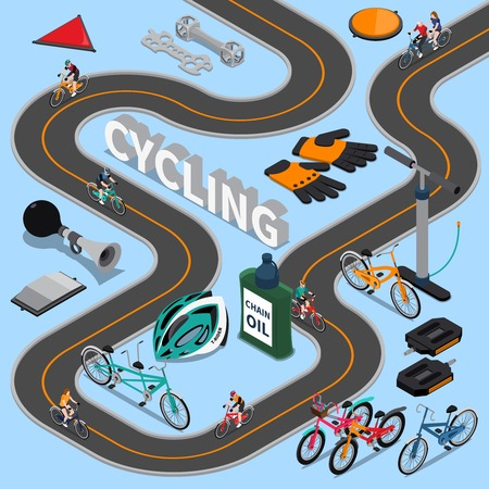 Cycling isometric composition with bikers on road, sports equipment and service tool on blue background vector illustration