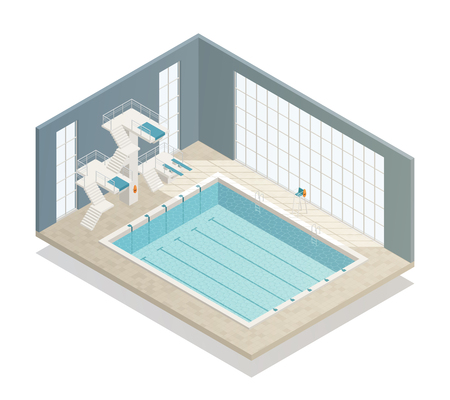 Bath sport and leisure center with 6 lane indoor swimming pool and diving platforms isometric vector illustration