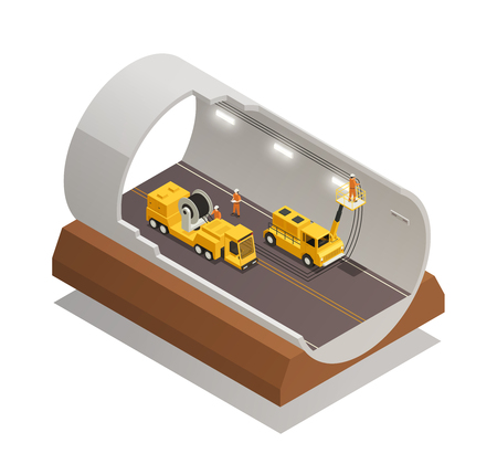 Finishing tunnel construction for highway isometric composition on white background.