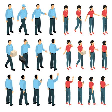 De man en de vrouw in bedrijfsschepping worden gebruikt plaatsten met mannelijke en vrouwelijke beeldjes in diverse menings isometrische geïsoleerde vectorillustratie die