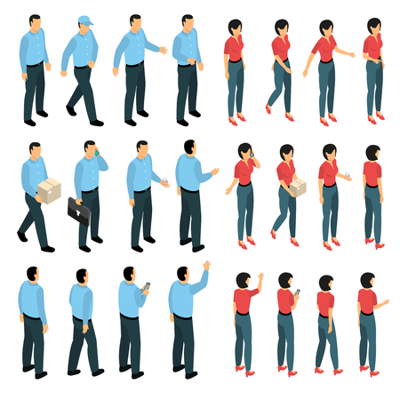 Man and woman used in business creation set with male and female figurines in various views isometric isolated vector illustration Ilustração