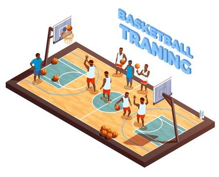 Basketbal isometrische samenstelling met hardhouthof en basketbalteam met menselijke karakters van spelers en bus vectorillustratie